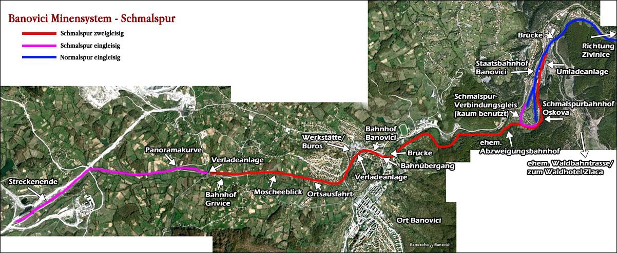 Banovici szénvasút térképe